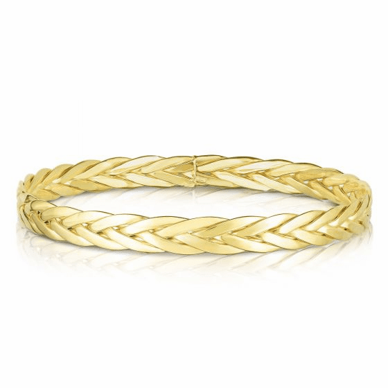 Woven 14k Yellow Gold Eternity Clasp-less Bangle