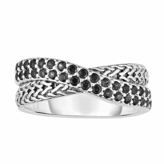 Woven Silver Crossover Ring with Black Sapphires.