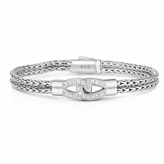 Woven Silver Double Strand Infinity Bracelet with White Sapphires