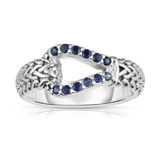 Woven Silver Hook Ring with Blue Sapphires.