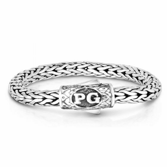 Woven Silver Men's Round Bracelet with Barrel Signature Clasp