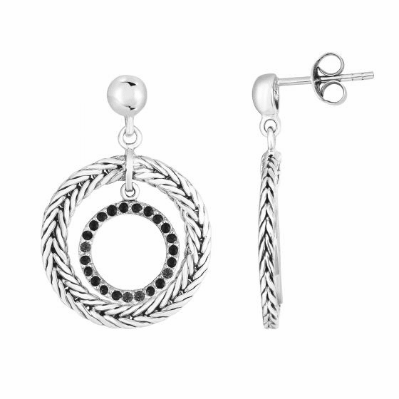 Woven Silver Round Drop Earrings with Black Sapphires