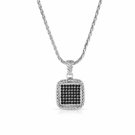 Woven Sterling Silver Square Pendant with Black Sapphires