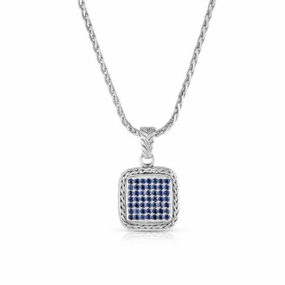 Woven Sterling Silver Square Pendant with Blue Sapphires