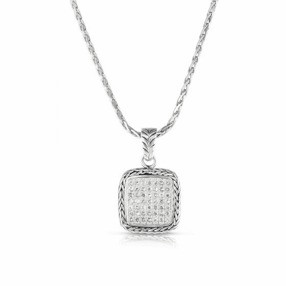 Woven Sterling Silver Square Pendant with White Sapphires