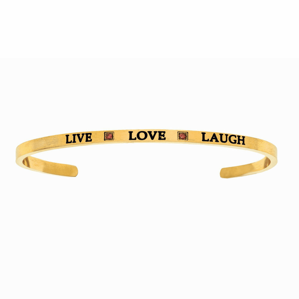 Yellow Finish Live Love Laugh Cuff Bangle - Stainless Steel