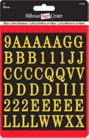 1 INCH LETTER NUMBER KIT, GOLD ON BLACK SELF ADHESIVE MYLAR