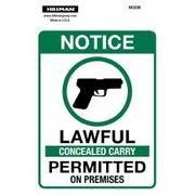 843238 NOTICE LAWFUL CONCEALED CARRY PERMITTED ON PREMISES,  6 X 4 VINYL