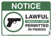 843298 LAWFUL CONCEALED CARRY PERMITTED ON PREMISES, 10 X 14 ALUMINUM