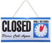 CLOSED SIGN WITH CLOCK FACE - PLASTIC