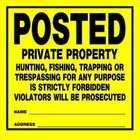 POSTED PRIVATE PROPERTY SIGN - 11 X 11 PLASTIC