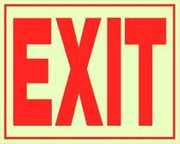 EXIT SIGN - SELF ADHESIVE GLOW IN THE DARK VINYL