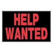 849894 - HELP WANTED SIGN - 8 X 12 RED/BLACK PLASTIC