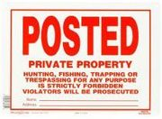 POSTED PRIVATE PROPERTY SIGN 10 X 14 ALUMINUM