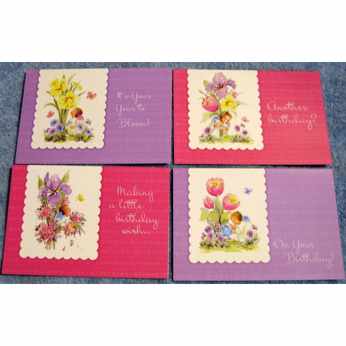Angelic Angels Birthday-12 Greeting Cards