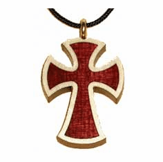 BENEDICTINE -Long Inlay- Wood Cross Pendent-46A