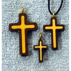 Black Walnut & Maple Cross Pendants
