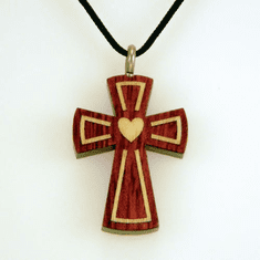 Bloodwood& Maple-Heart Inlay-Cross Pendent-29A