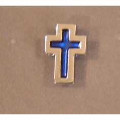 Blue Inlay Cross Pin-Silvertone