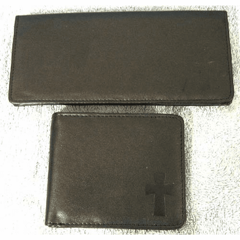 Christian Mens Billfolds With Cross- Leather Look & Feel