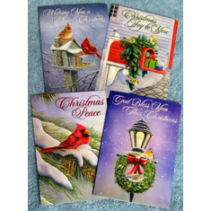 Christmas Birds-12 Greeting Cards