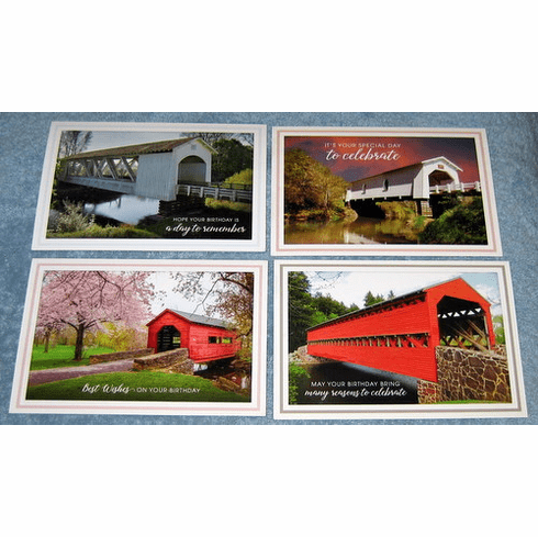 Covered Bridges Birthday- 12 Greeting Cards