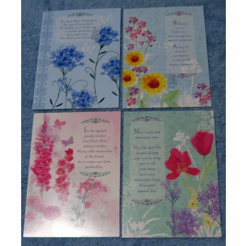 FLORAL IMPRESSIONS-12 Birthday Greeting Cards