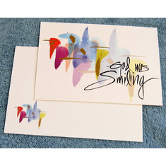 God Was Smiling- 6 Watercolor Birthday Cards