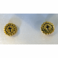 Goldplated Round Cross Earrings