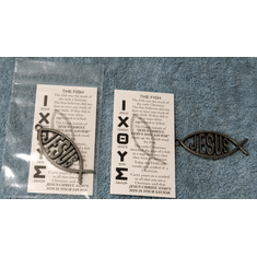 Jesus Fish In Pocket-Pewter-Pack of 5