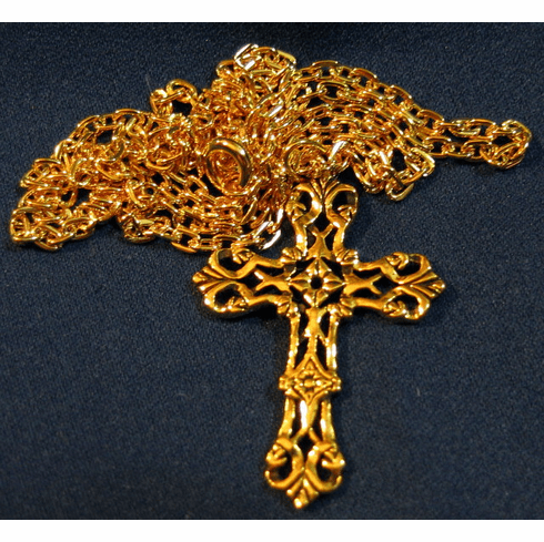 Lattice Work Gold Cross Pendant