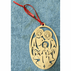 Maple Wooden Christmas Ornaments-Young Jesus & Family