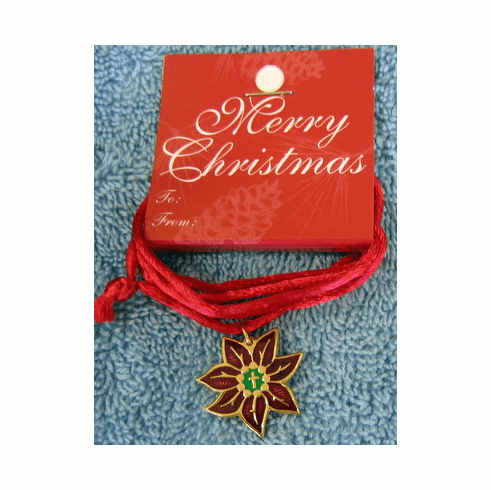Poinsettia Cross Christmas Pendent