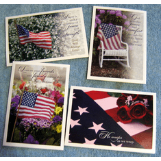 Patriotic Memories Sympathy- 12 Greeting Cards