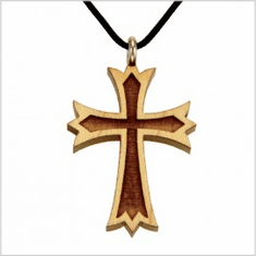 Raised Edge Wood Cross Pendant -61A