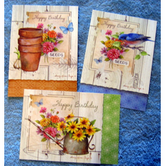 Rustic Garden Birthday-12 Diecut Greeting Cards