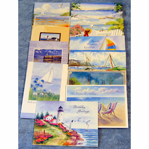 Shoreline Greetings -All Occasion-24 Greeting Cards