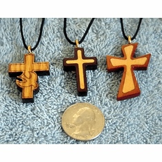 Small Christian Wooden Cross Pendants & Necklaces