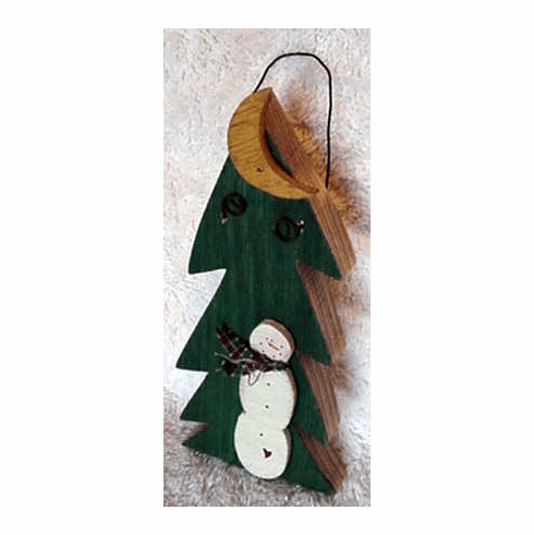 Snowman By Tree--Small Plaque