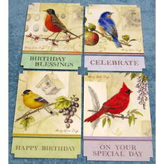 Song Birds Birthday- 12 Greeting Cards- By Sandy Clough