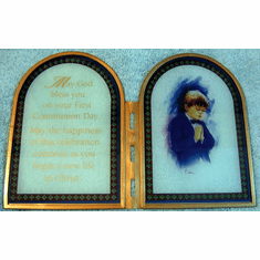 Stained glass First Communion frame