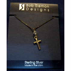 Sterling Silver Cross & Stone Pendant