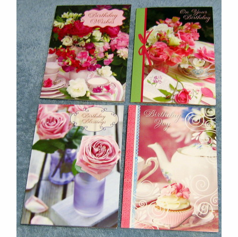 Teacup Wishes Birthday - 12 Greeting Cards