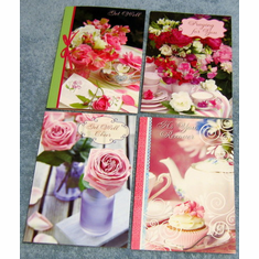 Teacup Wishes Get Well - 12 Greeting Cards