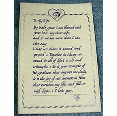 To My Wife Parchment