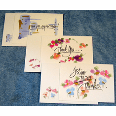 Watercolor Appreciated/Thank You Cards-Pack of 8