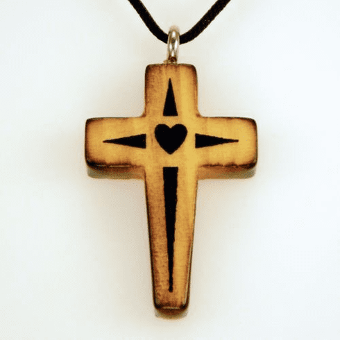 Wood Cross With Heart-J10