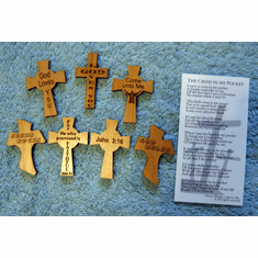 Wood Pocket Crosses-Pack Of 5