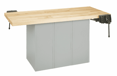 DIVERSIFIED WOODCRAFTS 2-Station Workbench w/2 vises (Quick Ship)-20 Wt-115/60/90