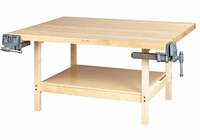 DIVERSIFIED WOODCRAFTS 4-Station Workbench w/2 vises (Quick Ship)